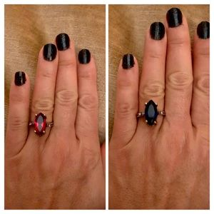 Ruby Red & Blue Sapphire Topaz Flip Ring Size 8
